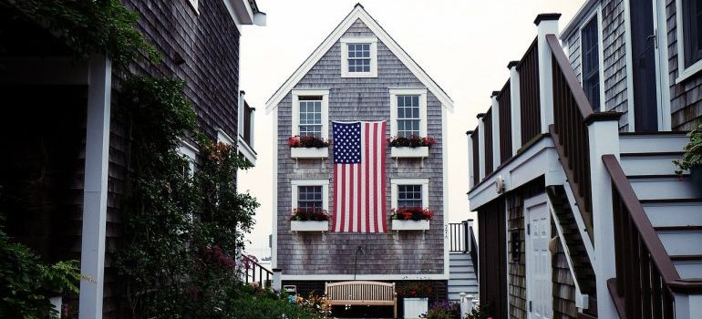 A house with an American flag.