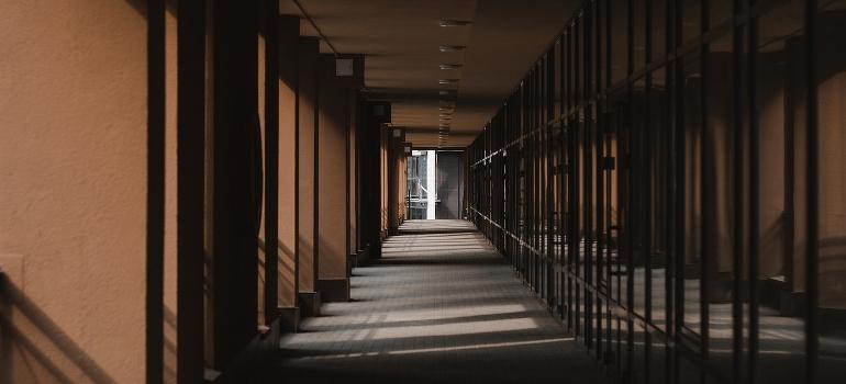 A clear dark corridor