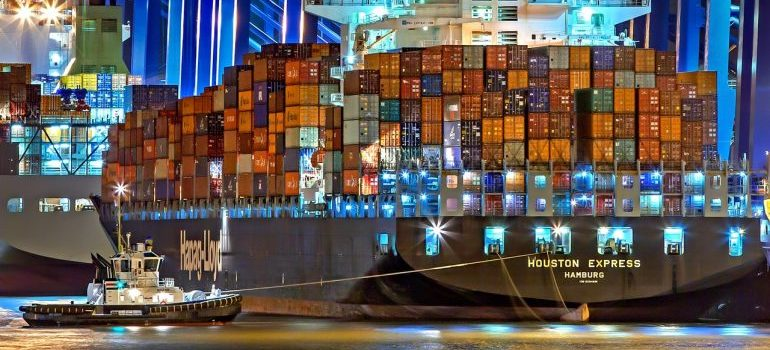 Ship with stacked shipping containers