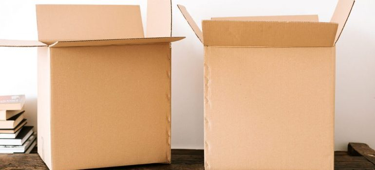 two cardboard boxes