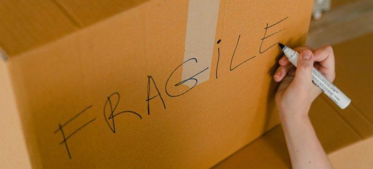 Labeled cardboard box