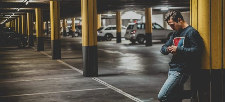 man standing in garage