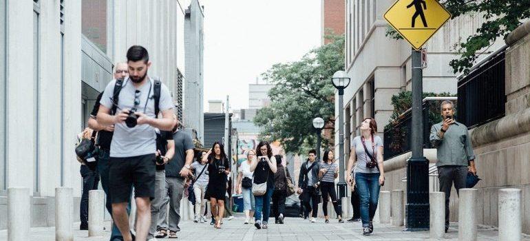 Pedestrians on the street.