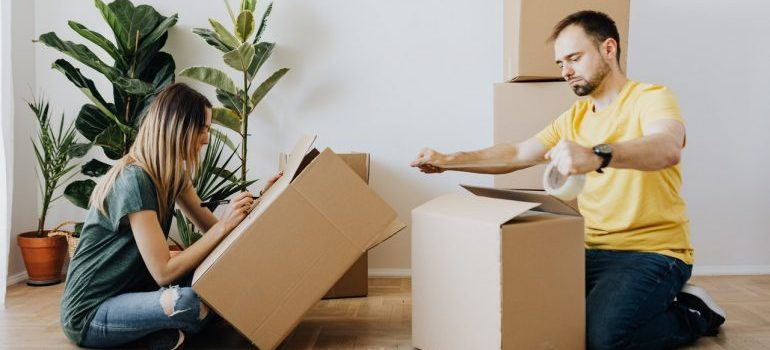Couple packing items