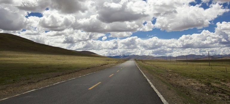 A road on which to drive after renting a moving truck in Idaho.