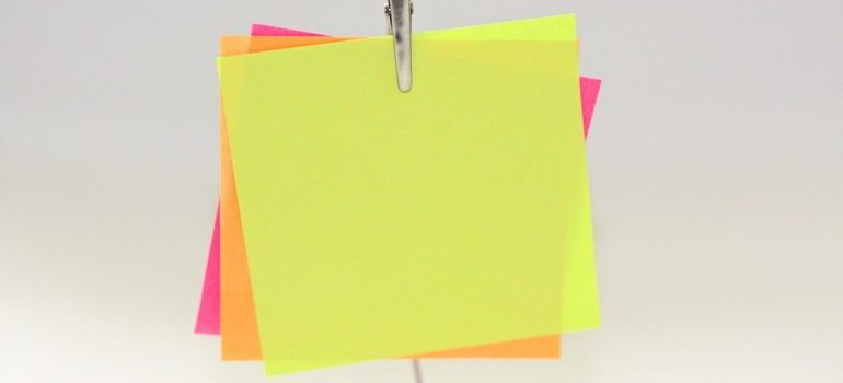 A bunch of sticky notes.