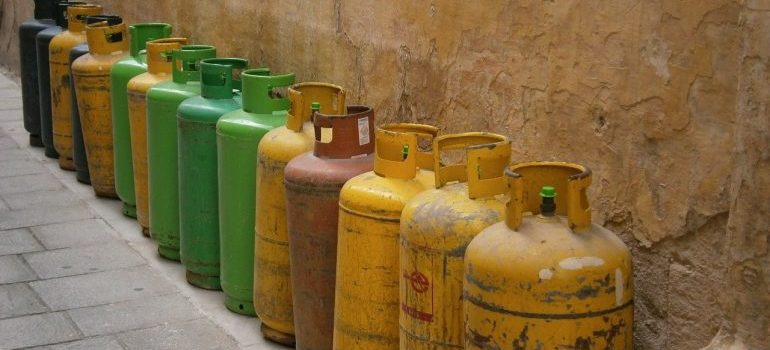 A row of gas bottles.