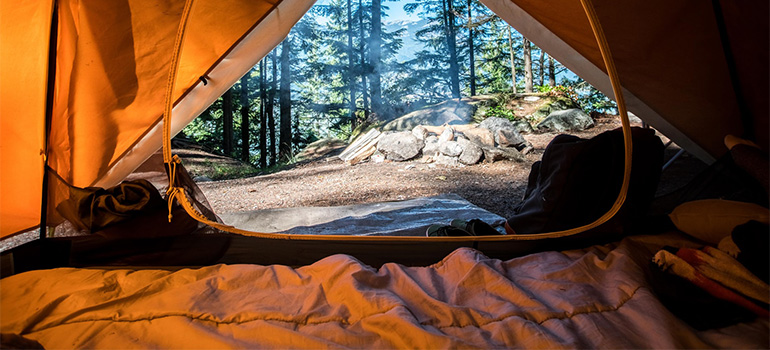 A view from the inside of a tent