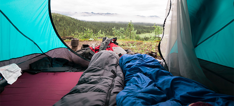 A view from a camping tent