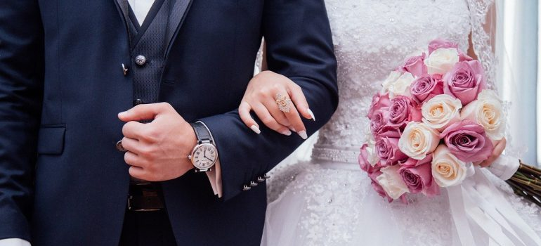 A close up of a married couple.