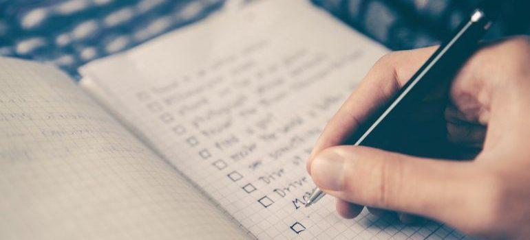 A person making a checklist.