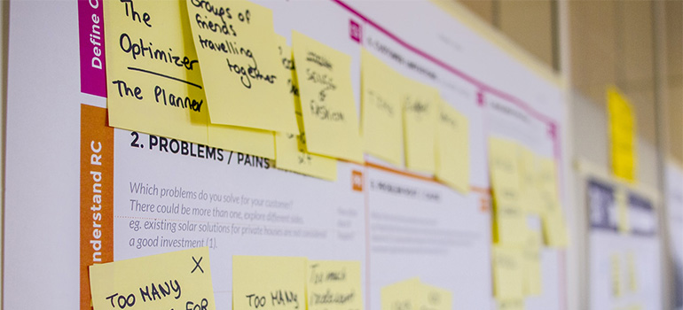 A business plan with post-its