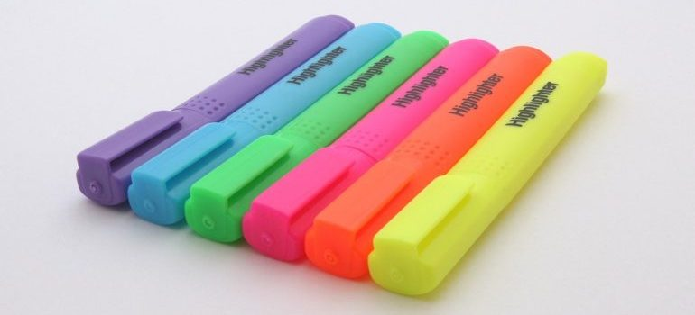 A row of colorful highlighters.