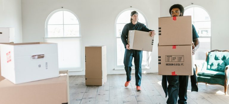 Two movers carrying boxes