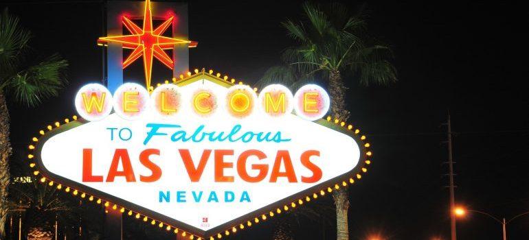 Las Vegas sign at night.