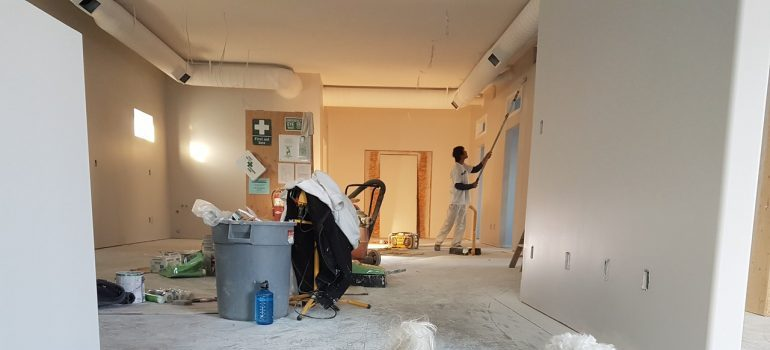 A man renovating a house