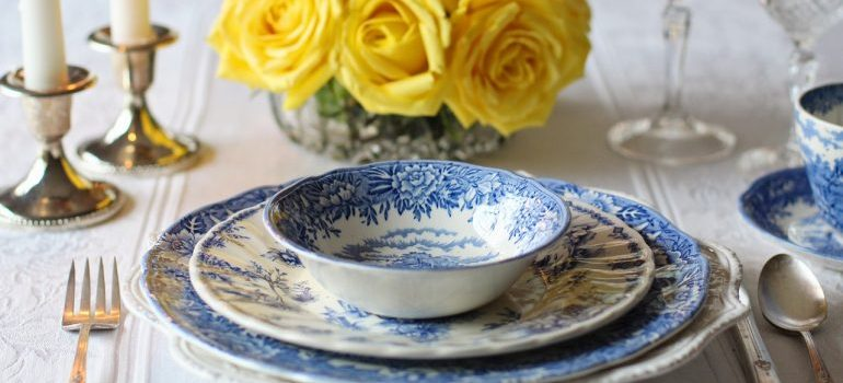 Fine china set on the table