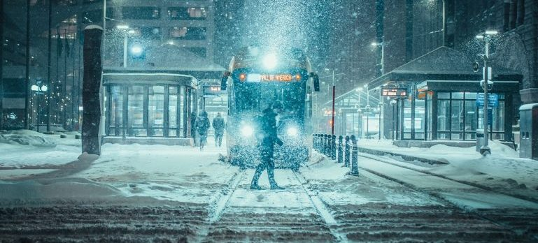 A man walking in the snow.