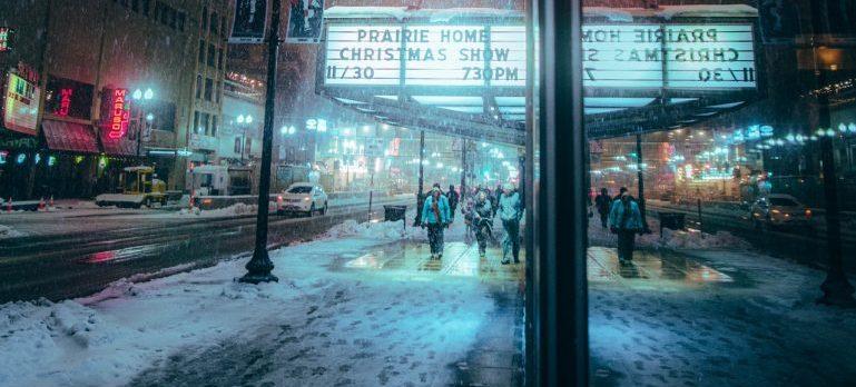 People walking in the snow.