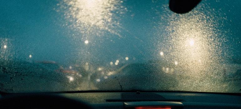 windshield in the rain