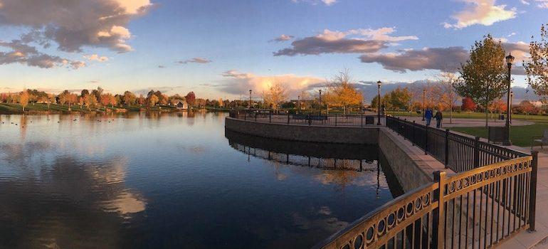 a park next to lake