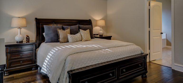 A close up of a bed.