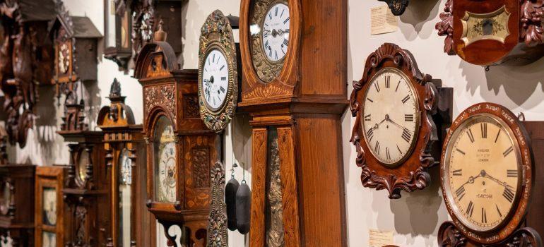 A lot of grandfather clocks.