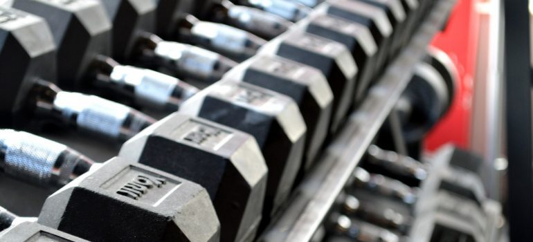 A bunch of dumbbells.